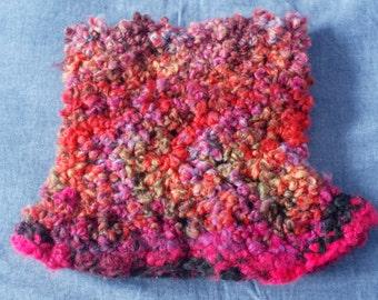 HAND- MADE crochet neck warmer: fuchsia multi