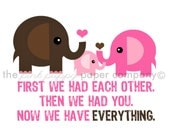 Now We Have Everything 5x7 Elephant Family Print (you choose your colors)