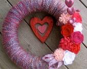 Be My Valentine LIMITED EDITION, 14 inch Wreath/ Yarn & Felt