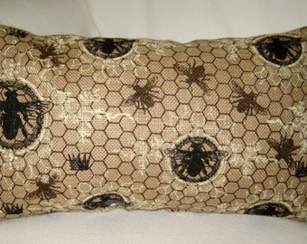 French Queen Bee Crown Burlap Pillow, Paris Inspired Vintage Bees Cushion, Neutral Shabby Chic Home Decor, France,