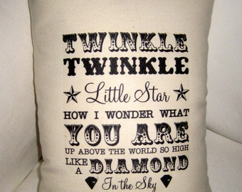 Twinkle Twinkle Little Star Pillow, Baby Nursery Decor, Cushion, Shower Gift,  Shabby Chic, Nursery Pillow, Song Pillow, Shower Gift