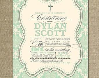 Damask Baptism Invitation Mint Green Ivory Gender Neutral Chic Christening Christian Cross DIY Digital or Printed - Dylan Style