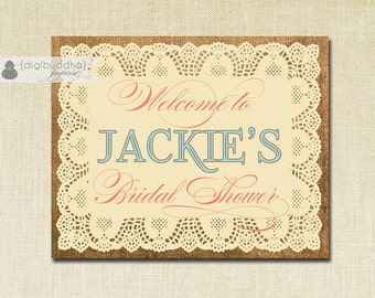 Welcome Sign Bridal Shower Lace Burlap Coral Turquoise Printable 8x10 Birthday Elegant Sign DIY Digital or Printed - Jackie Collection