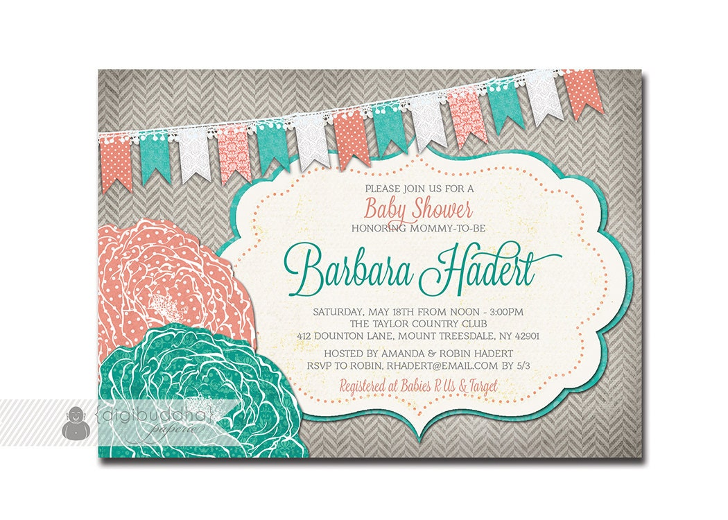 baby shower invitation coral turquoise teal aqua gray flower