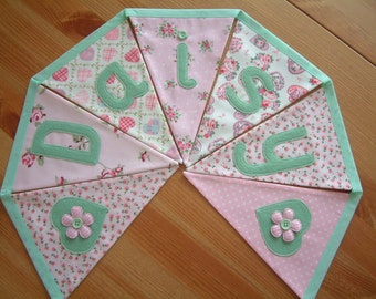 Personalised banner, name bunting. Pink & green. Baby girl. Fabric flags. Florals, rosebuds, dots. Applique hearts. Made to order.