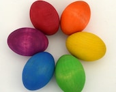 Wooden Easter Eggs - Rainbow Wooden Toy - Waldorf Toy - Rounded Ends