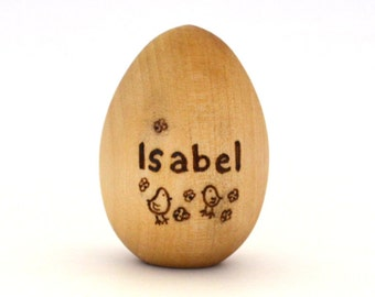 Personalized Wooden Easter Egg - Natural Wood Toy - Waldorf Toy - Easter