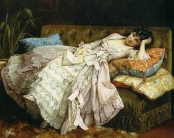 Fabulous Fine Art Print of Girl on Divan by Toulmouche