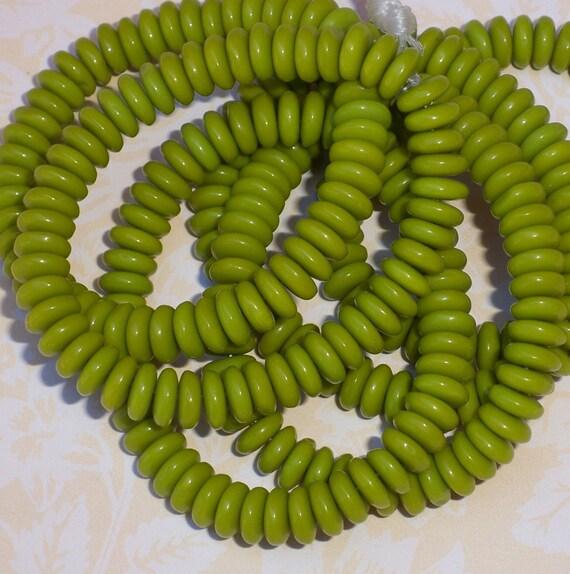 RESERVED - Green Disc Czech Glass Bead 5x2mm CHARTREUSE (50)