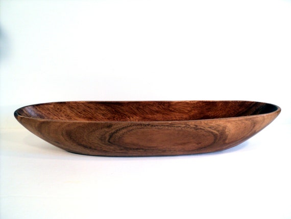 Oval Wooden Bowl Large 18 Inches Long Carved By