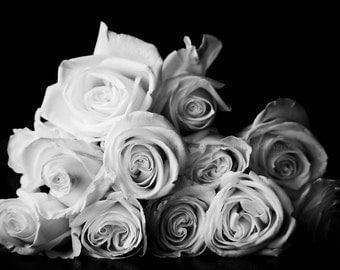 Dozen Roses Fine Art Photography Black White Ivory Gray Grey Ombre Flowers Floral Modern Minimalist Shabby Chic Romantic Home Decor Wall Art