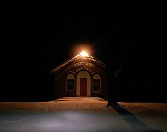 Night School Photo, Architecture Photography, Vintage Retro Rustic Winter Snow, Classroom Play Room Decor, Whimsy Home Decor Wall Art