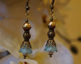 Tickled Fancy Blue Victorian Earrings-Victorian Earring, Antique Brass, Dangle Earring, Glass Beads Earring, Chandelier Earrings, Wedding