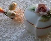 Stunning Vintage Ring Trinket Box Ceramic w/lid, Gorgeous Pink Rose with Gold Trim, Made in Japan 1950s