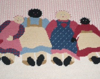 Country Dolls Needlepoint Wall Hanging Art