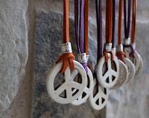 Peace Sign Necklace, Coachella Necklace, 60s Peace Necklace, Festival Jewelry, Peace Medallion, Leather Peace Necklace, TEN COLORS OFFERED