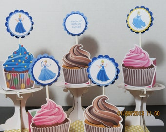 Cinderella Cupcake Toppers-Set of 12