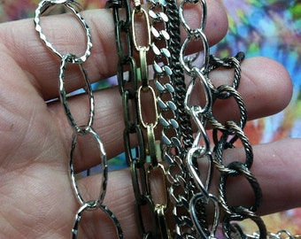Free US shipping SUPER SALE! chain sampler lot C large, small, brass, steel, 7 different types 15 feet total  Us SHipping ONlY