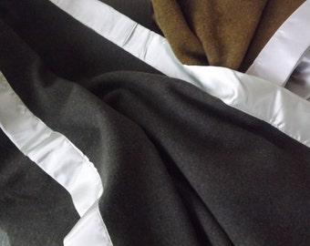 Vintage Wool Blanket--Hunter Green