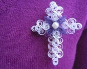 Elegant Quilled Easter Cross Lapel Pin Brooch with Pearl Center