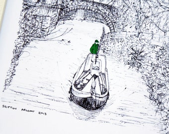 "Original art illustrative print, Skipton Canal (10"" x 12"") - UK seller"