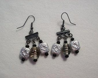 Gunmetal & Bead Earrings