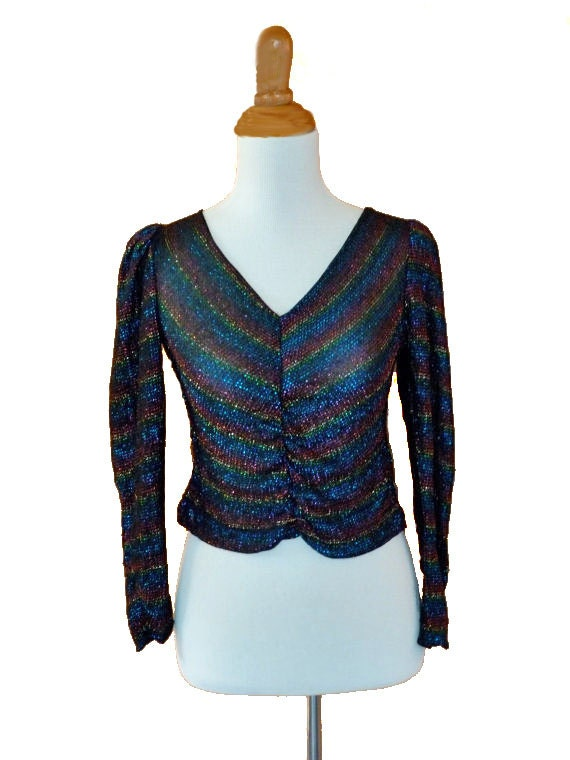 1980s metallic LUREX top / v neck shirred front / size xs / rainbow colors