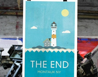 Montauk - Lighthouse The End Nautical Print - Art Poster