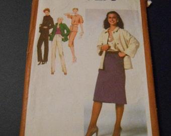 Vintage Simplicity sewing pattern 9276, size 10, skirt, jacket, pants, top