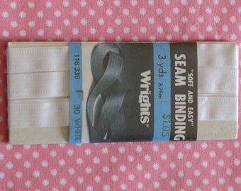 Vintage Wrights White Seam Binding Tape  1 New  Package dated 1986 for Apparel or Crafts