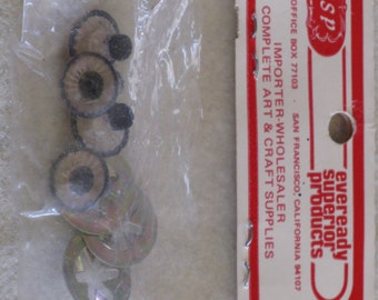 "Vintage Animal Eyes Black and Clear Craft 2 Pair 1/2"" Plastic with Metal Washers Art & Craft Supply"