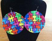 Autism Awareness large dangle Earrings Fabric puzzle earrings