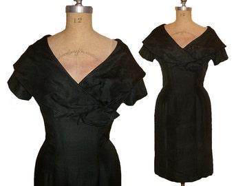 Vintage 1950s Black Dupioni Silk Shawl Collar Tight Wiggle Dress size Medium