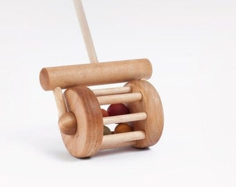 Wooden Toy, Natural Push Rattle Toy,  Lawnmower Toy