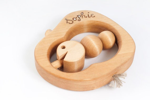 Personalized Teething Toy eco-friendly wooden baby toy an Apple