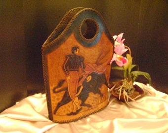 SALE, was 150. Vintage leather Mexican handbag.