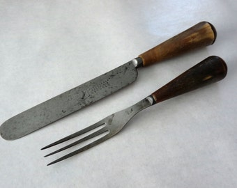 Antique Knife & Fork Set by John Askham, circa 1860s, Toboggan, Sheffield