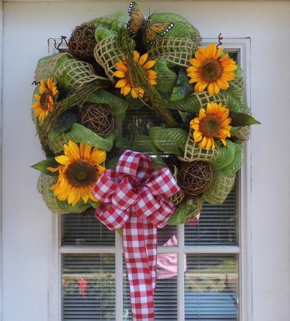 Sunflower Summer Deco Mesh Wreath