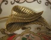 Vintage Signed Maxim Large Rhinestone Leaf Brooch