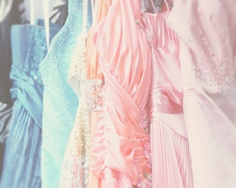 Party Dresses Valentines Day Pastel Colors Pastel Pink Blue Salmon Teal Soft and Dreamy,  Fine Art Print