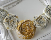 Fabric Flower Necklace- Mustard Yellow, Gray and Ivory