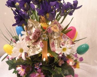 Large Easter Wicker Lighted Basket - OOAK -Floral Arrangement - Flower Centerpiece - Spring Delight