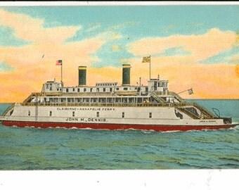 Vintage Postcard, Claiborne-Annapolis Ferry, Chesapeake Bay, Annapolis, Maryland