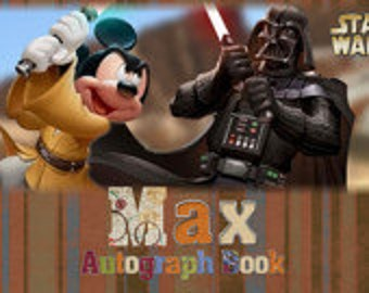 Mickey and Darth Vader Star Wars autograph book with a personalized cover for your Disney vacation