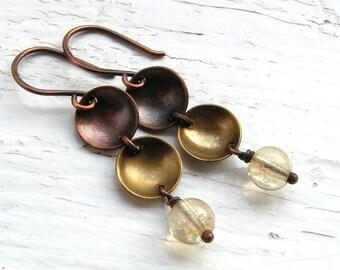 Citrine, Copper and Brass Earrings, Dangle Earrings