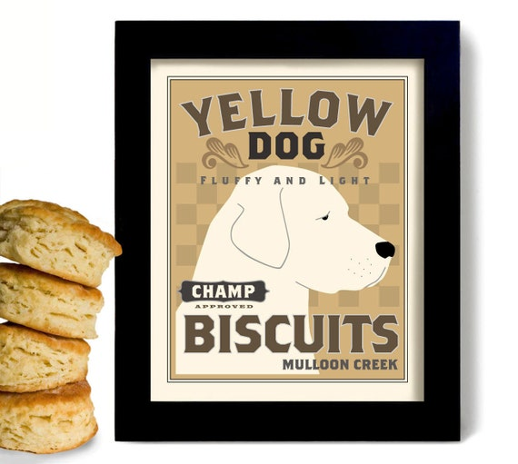 Yellow Lab Retriever Personalized Dog Art Kitchen Decor Print Homemade Biscuits Country Decor