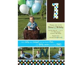 So Fun Polka Dots 1st Birthday Invitation (Boy) - Digital File
