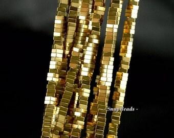 4x2mm Gold Hematite Gemstone Gold Square Heishi Slice Loose Beads 15.5 inch Full Strand (90145576-148A)