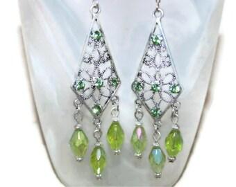 Peridot Swarovski Crystal Kite Earrings (E23)