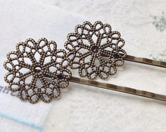 25 x 25 mm Antiqued Bronze Bobby Pin with Setting Base (.nm).